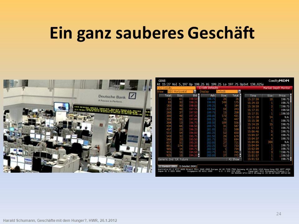 Harald Schumann, Geschäfte mit dem Hunger?, HWR, 26.1.2012 24 Ein ganz sauberes Geschäft