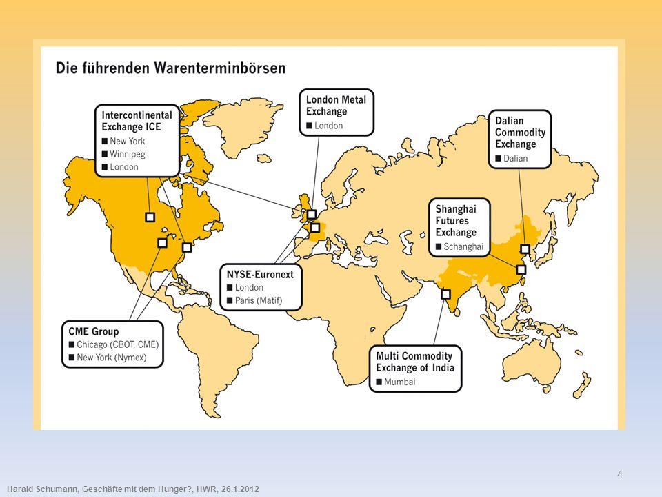 Harald Schumann, Geschäfte mit dem Hunger?, HWR, 26.1.2012 15 Die Preise für die Spot-Märkte werden generell über die Futures- Märkte gefunden.