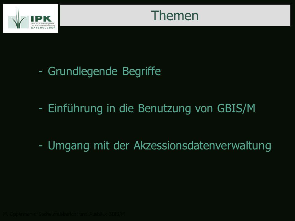 -Grundlegende Begriffe -Einführung in die Benutzung von GBIS/M -Umgang mit der Akzessionsdatenverwaltung Themen M.