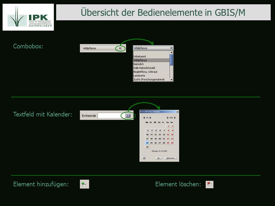 Übersicht der Bedienelemente in GBIS/M Combobox: Textfeld mit Kalender: Element hinzufügen:Element löschen:
