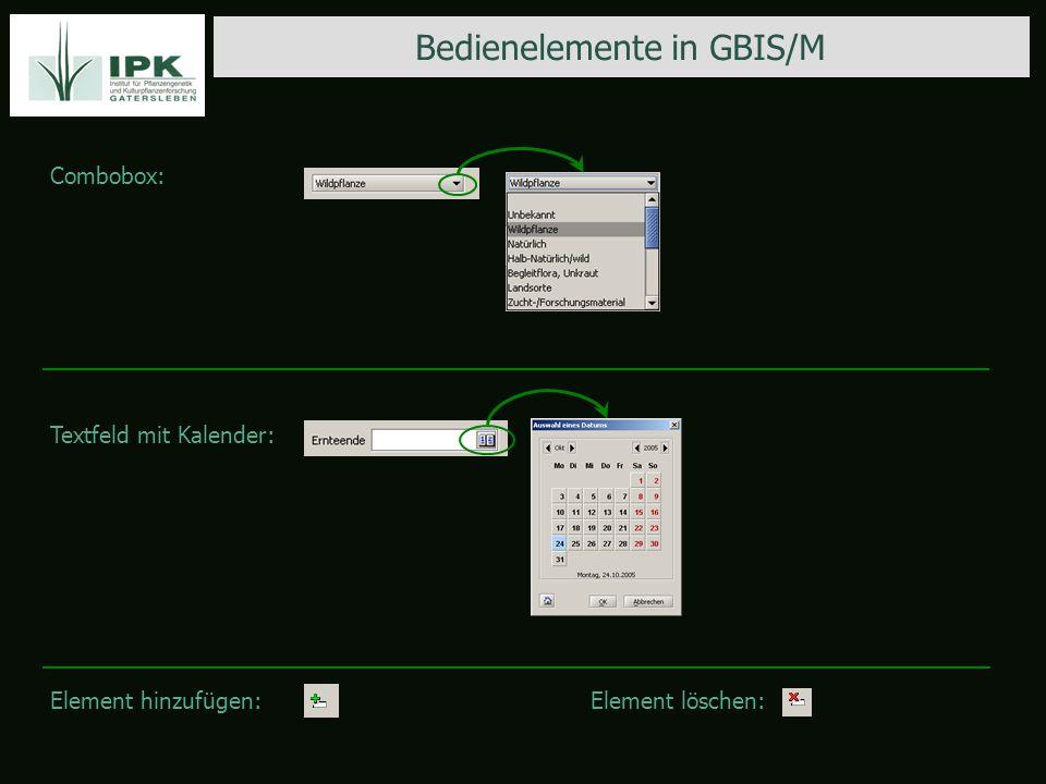 Bedienelemente in GBIS/M Combobox: Textfeld mit Kalender: Element hinzufügen:Element löschen:
