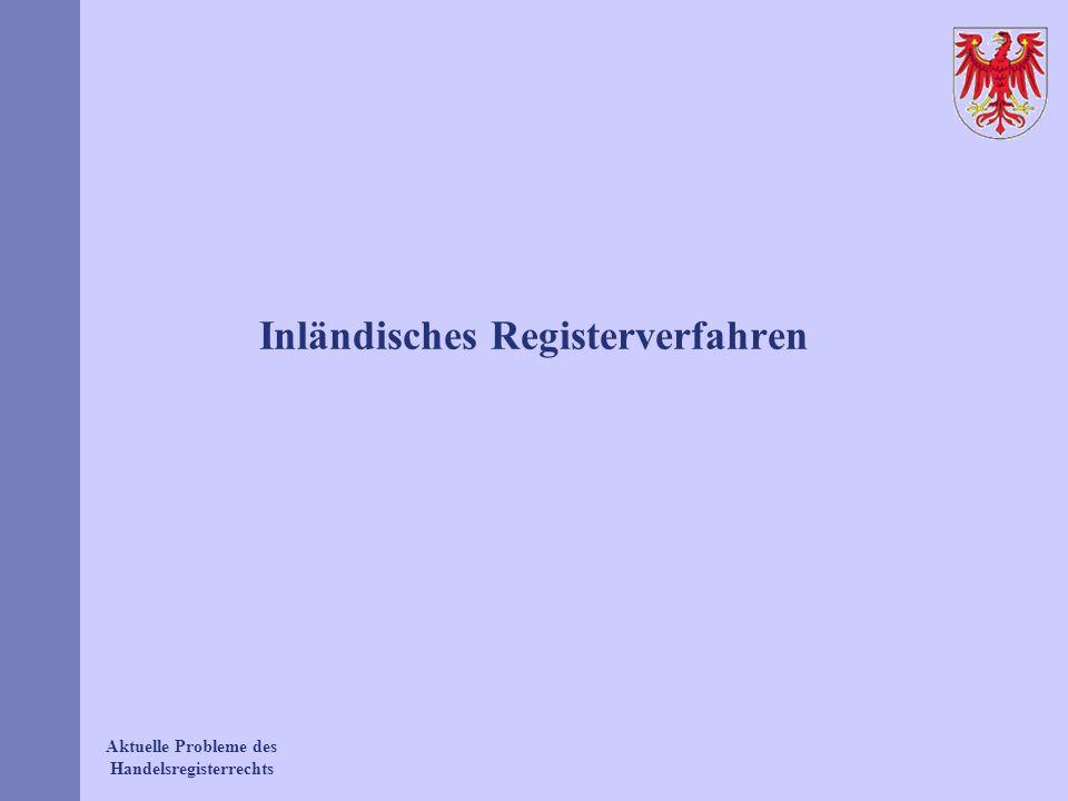 Aktuelle Probleme des Handelsregisterrechts Inländisches Registerverfahren