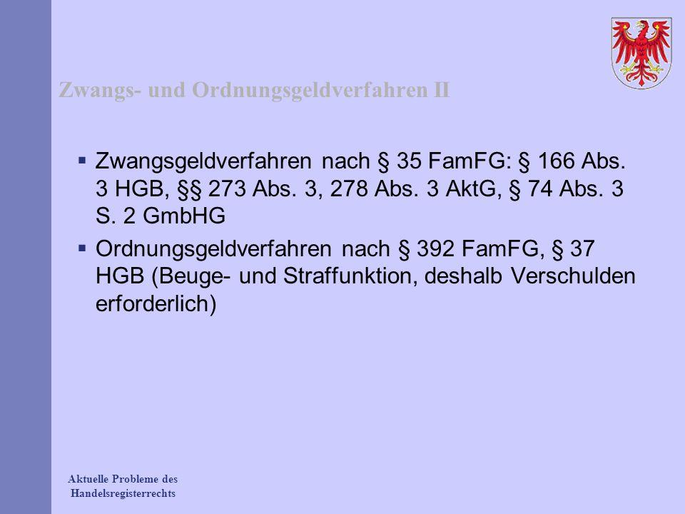 Aktuelle Probleme des Handelsregisterrechts Zwangs- und Ordnungsgeldverfahren II Zwangsgeldverfahren nach § 35 FamFG: § 166 Abs. 3 HGB, §§ 273 Abs. 3,