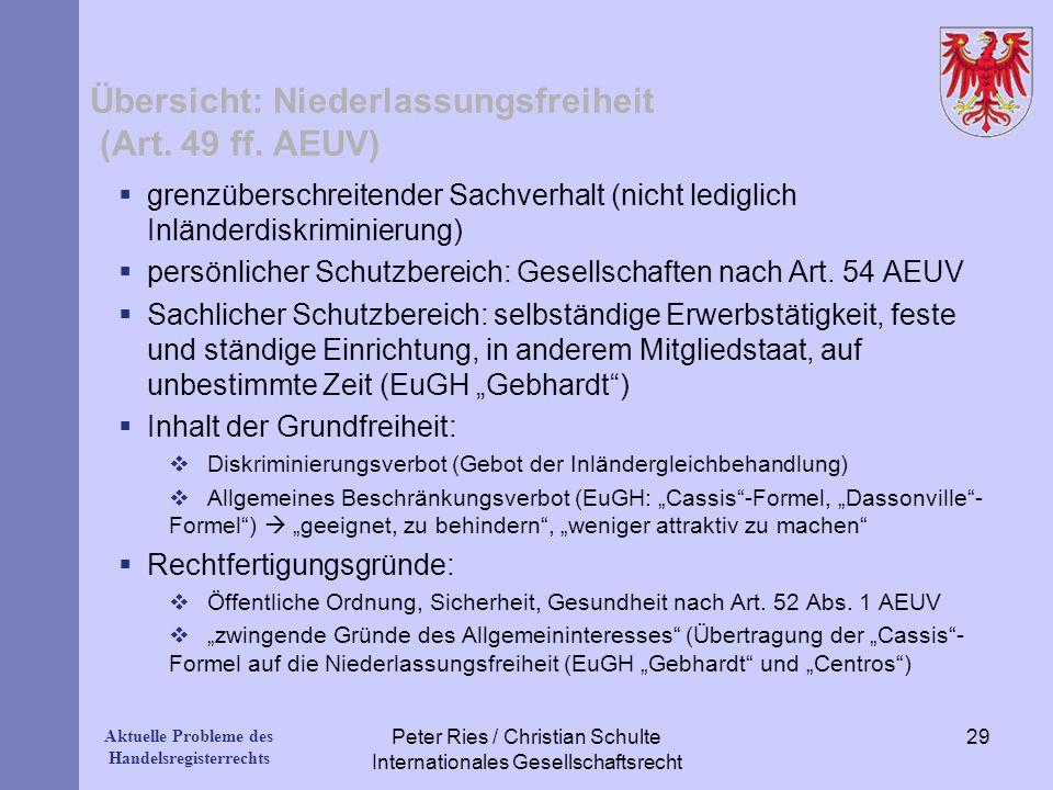Aktuelle Probleme des Handelsregisterrechts Übersicht: Niederlassungsfreiheit (Art. 49 ff. AEUV) grenzüberschreitender Sachverhalt (nicht lediglich In