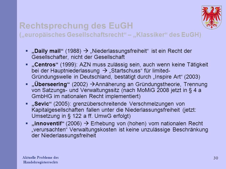 Aktuelle Probleme des Handelsregisterrechts Rechtsprechung des EuGH (europäisches Gesellschaftsrecht – Klassiker des EuGH) Daily mail (1988) Niederlas