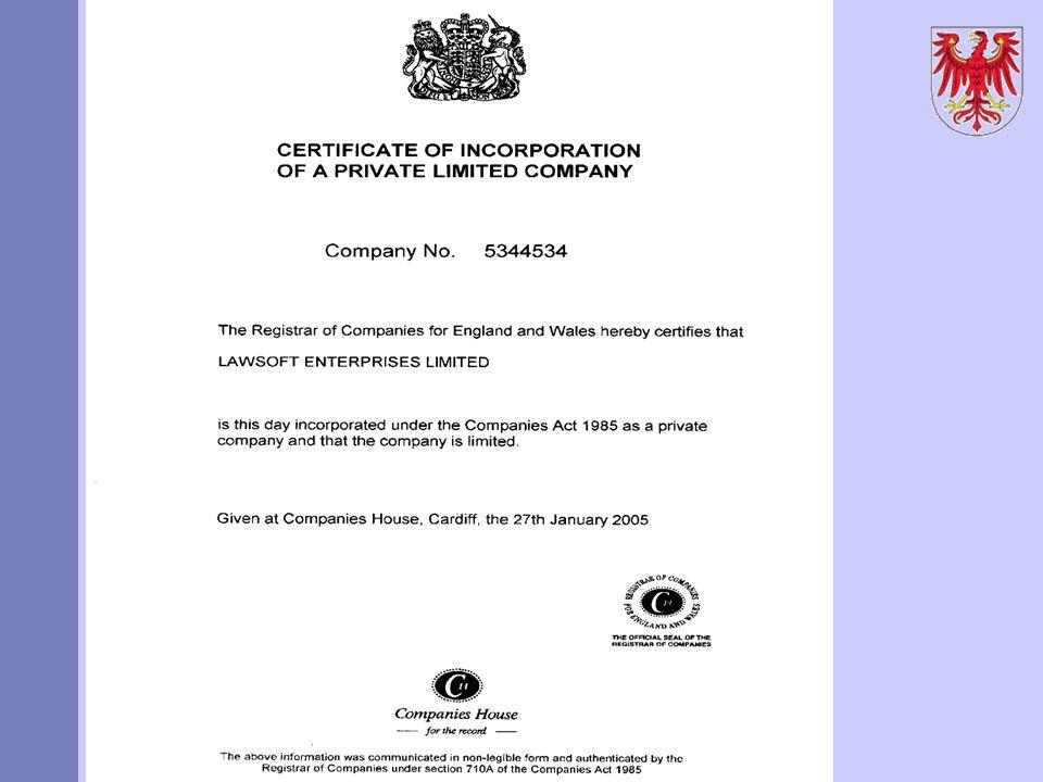 Aktuelle Probleme des Handelsregisterrechts AZN Limited Certificate of Incorporation