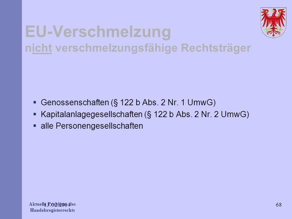 Aktuelle Probleme des Handelsregisterrechts EU-Verschmelzung nicht verschmelzungsfähige Rechtsträger Genossenschaften (§ 122 b Abs. 2 Nr. 1 UmwG) Kapi