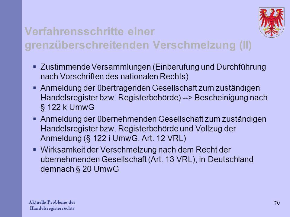 Aktuelle Probleme des Handelsregisterrechts Verfahrensschritte einer grenzüberschreitenden Verschmelzung (II) Zustimmende Versammlungen (Einberufung u