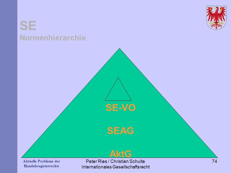 Aktuelle Probleme des Handelsregisterrechts SE Normenhierarchie SE-VO SEAG AktG Peter Ries / Christian Schulte Internationales Gesellschaftsrecht 74