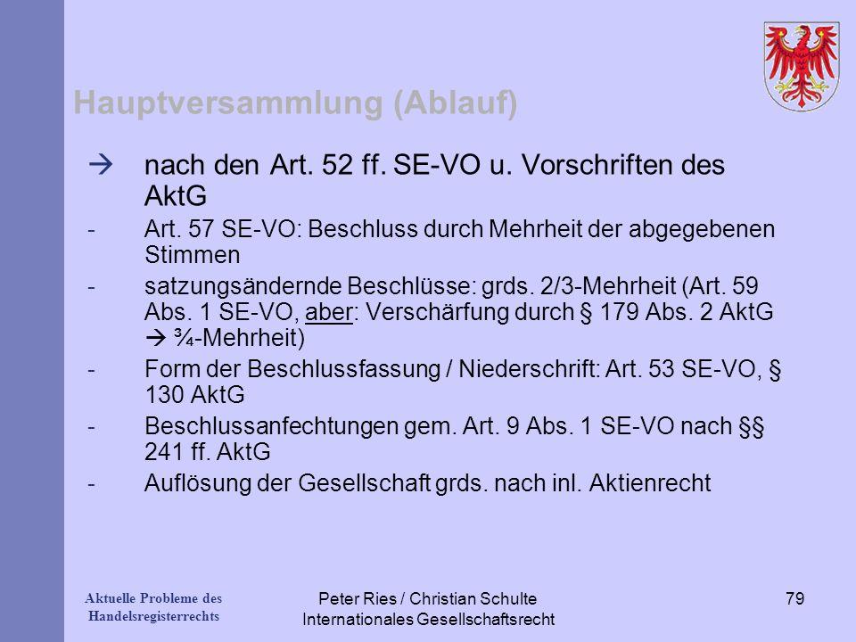 Aktuelle Probleme des Handelsregisterrechts Hauptversammlung (Ablauf) nach den Art. 52 ff. SE-VO u. Vorschriften des AktG -Art. 57 SE-VO: Beschluss du