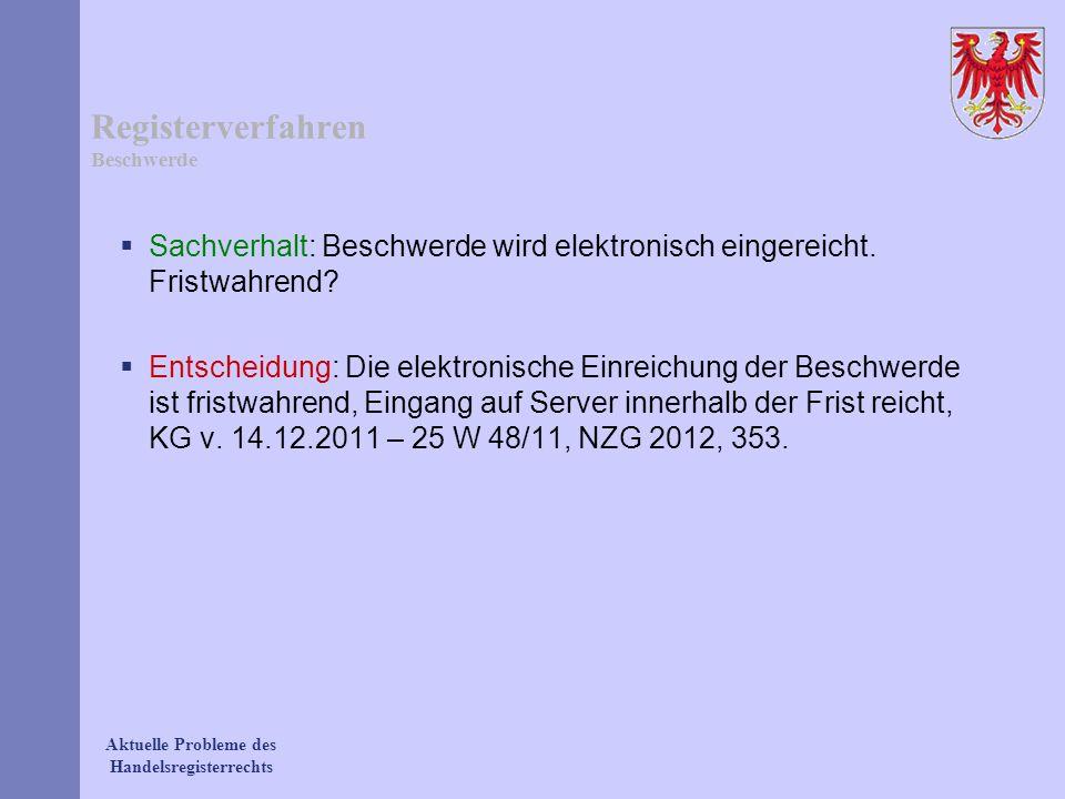 Aktuelle Probleme des Handelsregisterrechts Registerverfahren Beschwerde Sachverhalt: Beschwerde wird elektronisch eingereicht. Fristwahrend? Entschei