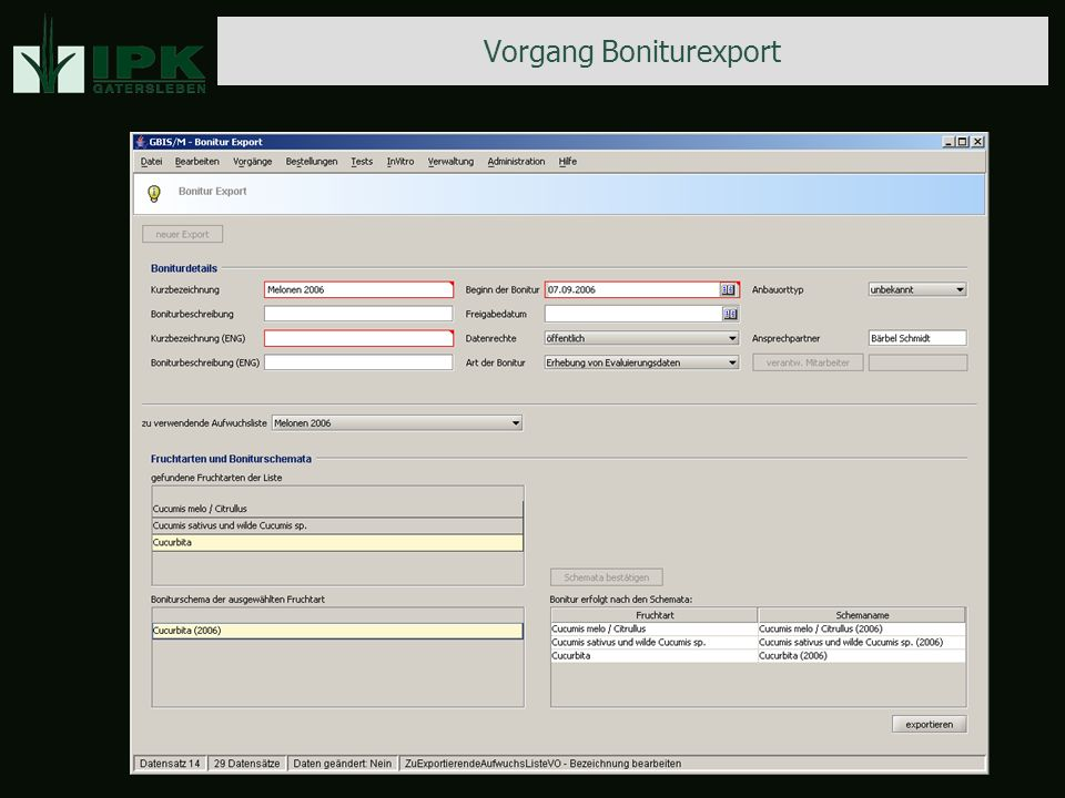 Vorgang Boniturexport