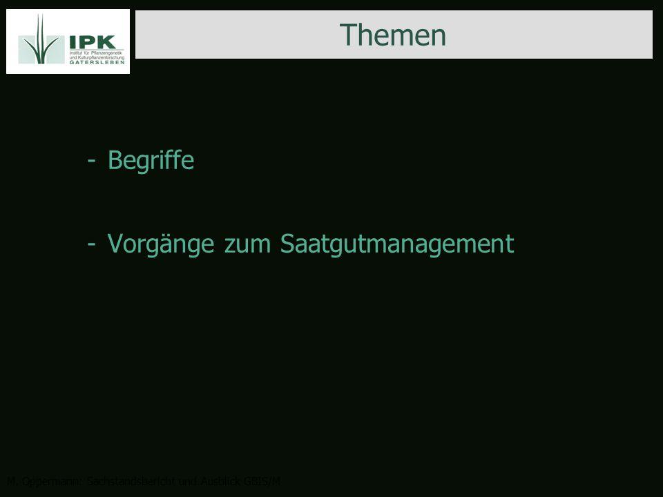 -Begriffe -Vorgänge zum Saatgutmanagement Themen M.