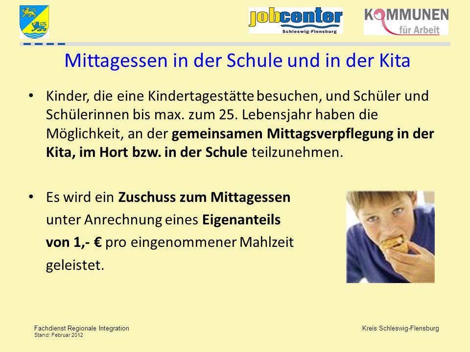 Kreis Schleswig-Flensburg Fachdienst Regionale Integration Stand: Februar 2012 Mittagessen in der Schule und in der Kita Kinder, die eine Kindertagest
