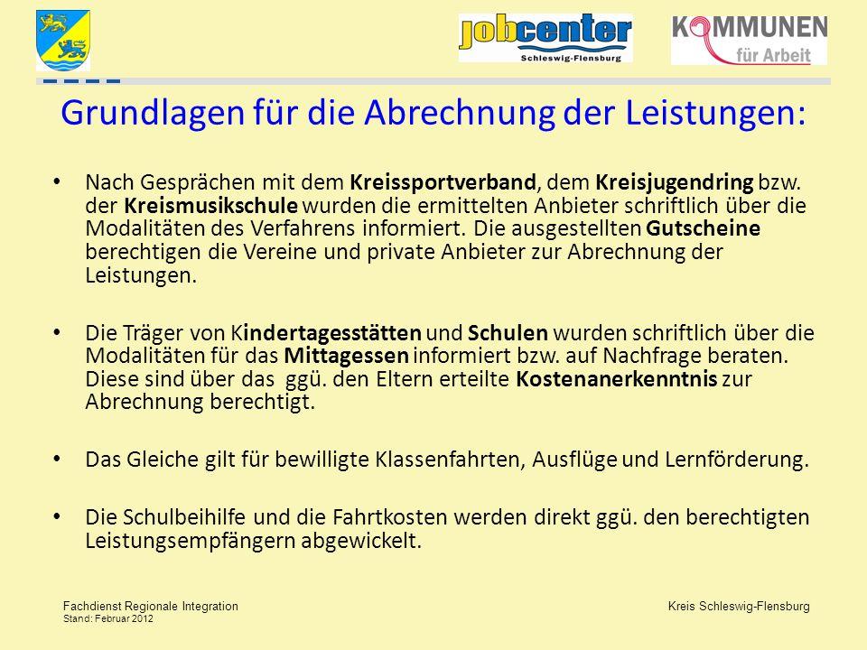 Kreis Schleswig-Flensburg Fachdienst Regionale Integration Stand: Februar 2012 Grundlagen für die Abrechnung der Leistungen: Nach Gesprächen mit dem K
