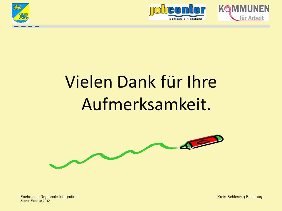 Kreis Schleswig-Flensburg Fachdienst Regionale Integration Stand: Februar 2012 Vielen Dank für Ihre Aufmerksamkeit.