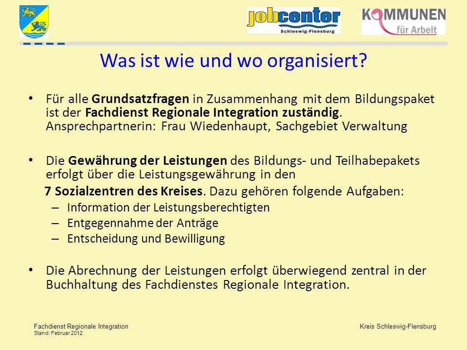 Kreis Schleswig-Flensburg Fachdienst Regionale Integration Stand: Februar 2012 Was ist wie und wo organisiert? Für alle Grundsatzfragen in Zusammenhan