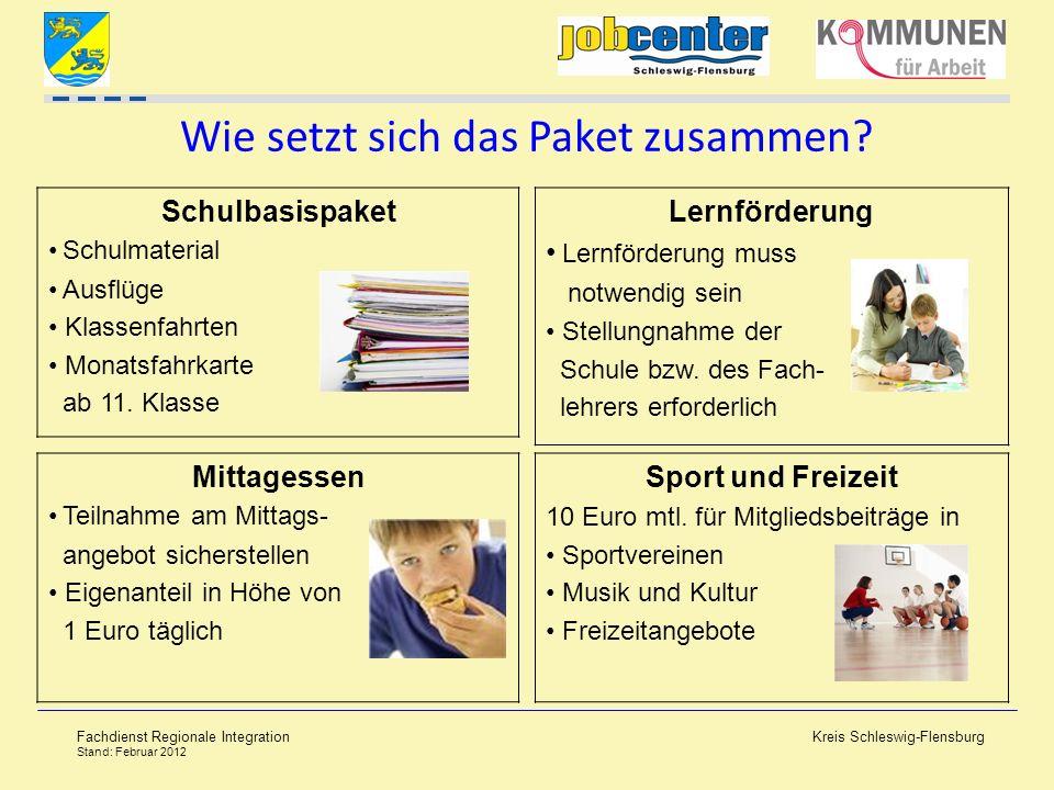 Kreis Schleswig-Flensburg Fachdienst Regionale Integration Stand: Februar 2012 Wie setzt sich das Paket zusammen? Schulbasispaket Schulmaterial Ausflü