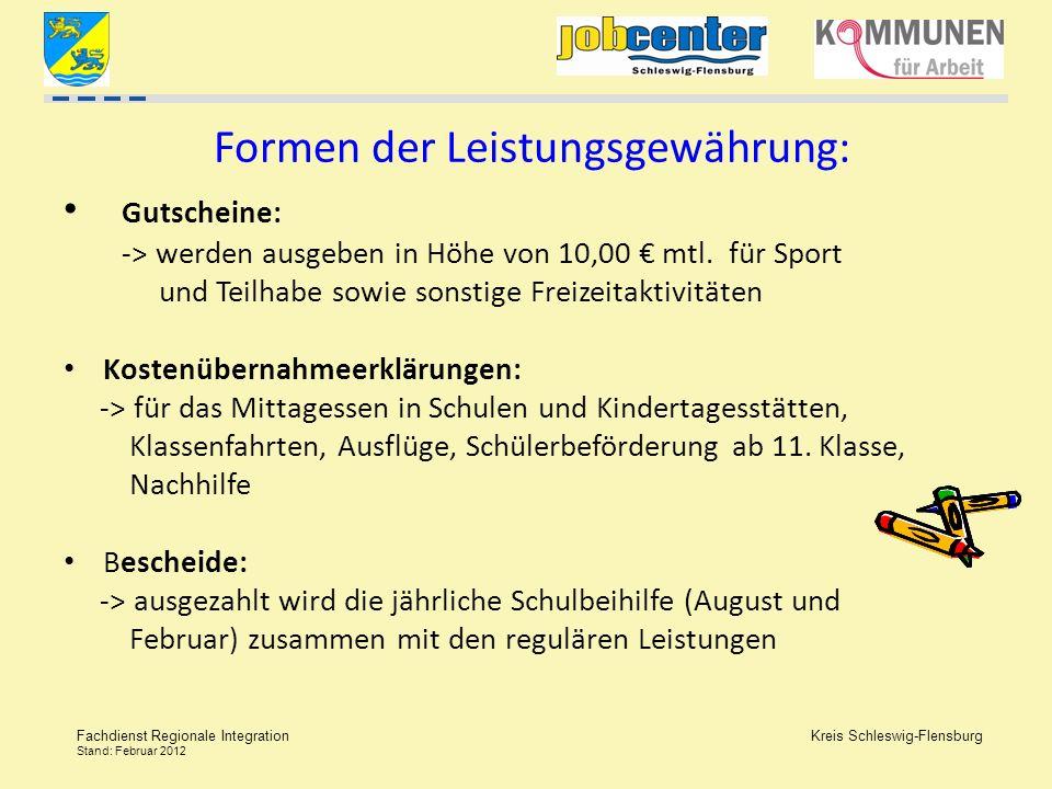 Kreis Schleswig-Flensburg Fachdienst Regionale Integration Stand: Februar 2012 Formen der Leistungsgewährung: Gutscheine: -> werden ausgeben in Höhe v