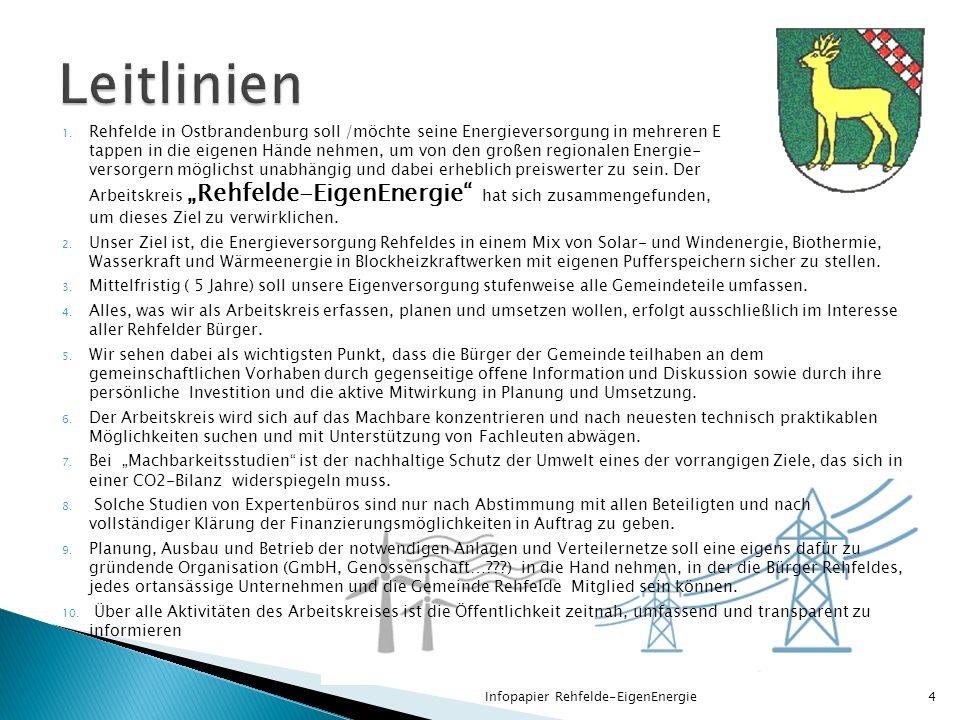 1. Rehfelde in Ostbrandenburg soll /möchte seine Energieversorgung in mehreren E tappen in die eigenen Hände nehmen, um von den großen regionalen Ener