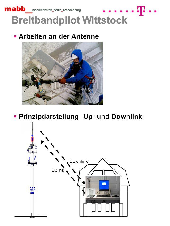 Breitbandpilot Wittstock Downlink Uplink Prinzipdarstellung Up- und Downlink Arbeiten an der Antenne