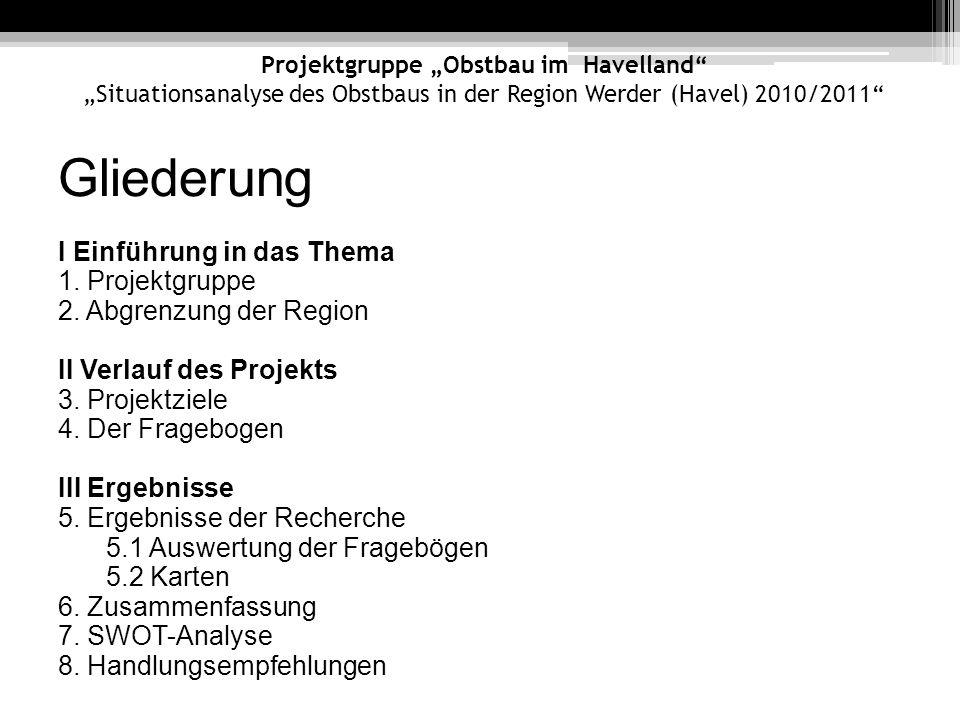 Gliederung I Einführung in das Thema 1. Projektgruppe 2. Abgrenzung der Region II Verlauf des Projekts 3. Projektziele 4. Der Fragebogen III Ergebniss