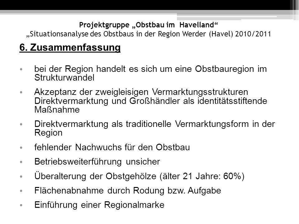 Projektgruppe Obstbau im Havelland Situationsanalyse des Obstbaus in der Region Werder (Havel) 2010/2011 6. Zusammenfassung bei der Region handelt es