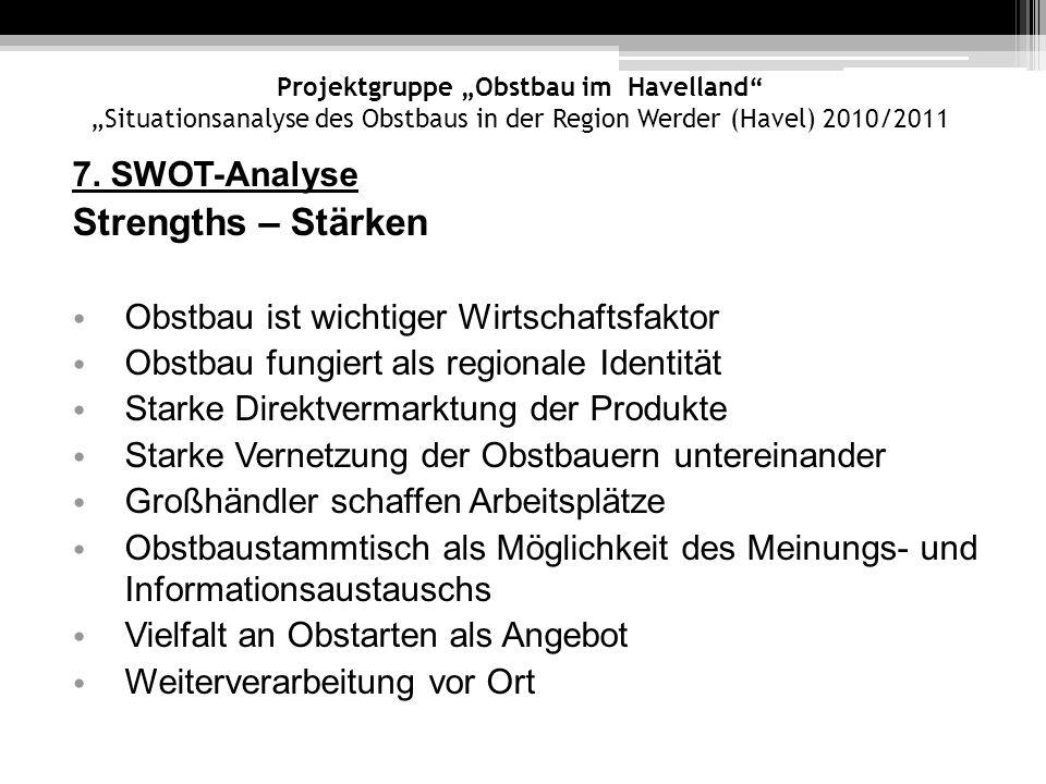Projektgruppe Obstbau im Havelland Situationsanalyse des Obstbaus in der Region Werder (Havel) 2010/2011 7. SWOT-Analyse Strengths – Stärken Obstbau i