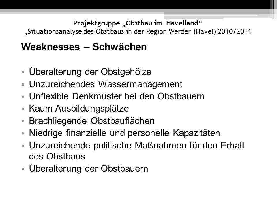 Projektgruppe Obstbau im Havelland Situationsanalyse des Obstbaus in der Region Werder (Havel) 2010/2011 Weaknesses – Schwächen Überalterung der Obstg