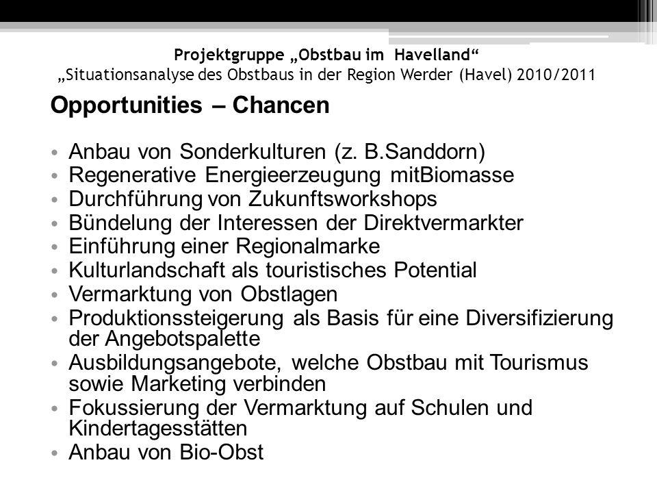 Projektgruppe Obstbau im Havelland Situationsanalyse des Obstbaus in der Region Werder (Havel) 2010/2011 Opportunities – Chancen Anbau von Sonderkultu