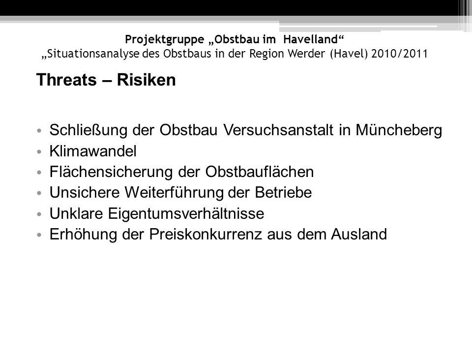 Projektgruppe Obstbau im Havelland Situationsanalyse des Obstbaus in der Region Werder (Havel) 2010/2011 Threats – Risiken Schließung der Obstbau Vers