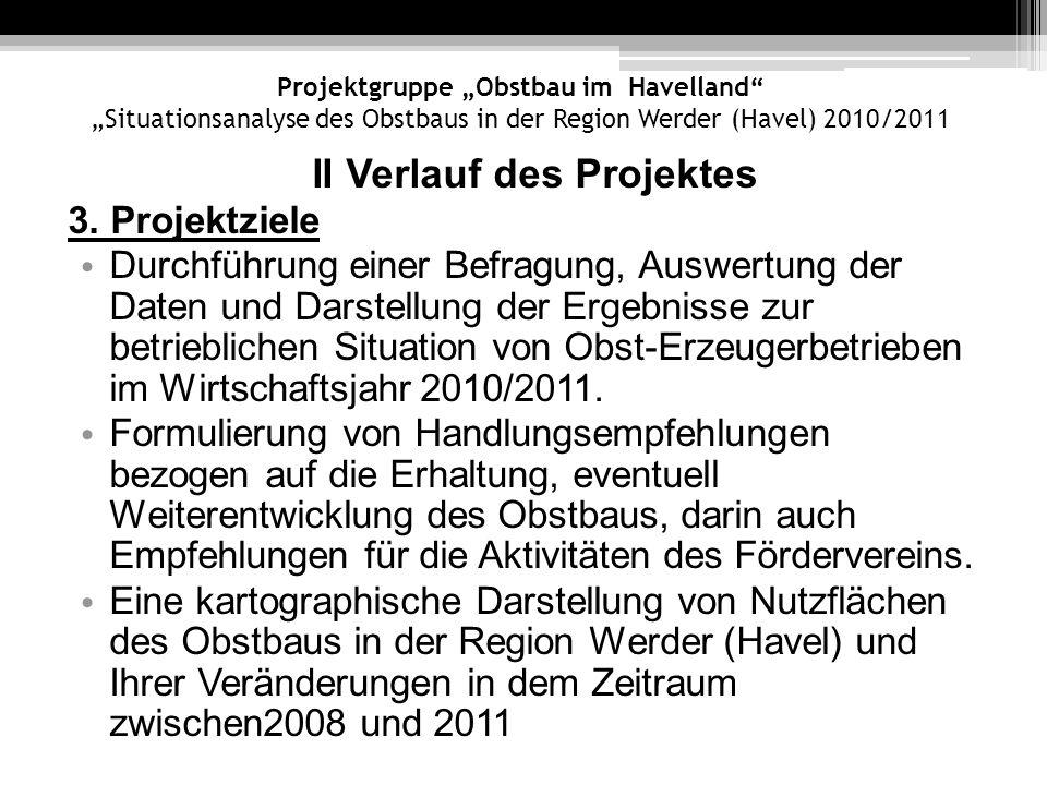 Projektgruppe Obstbau im Havelland Situationsanalyse des Obstbaus in der Region Werder (Havel) 2010/2011 II Verlauf des Projektes 3. Projektziele Durc