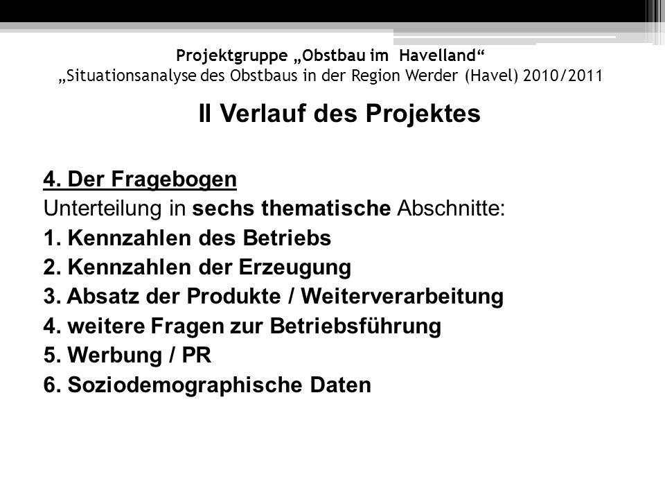 Projektgruppe Obstbau im Havelland Situationsanalyse des Obstbaus in der Region Werder (Havel) 2010/2011 II Verlauf des Projektes 4. Der Fragebogen Un