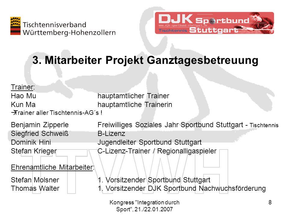 Kongress Integration durch Sport , 21./22.01.2007 9 Hauptamtliche Trainer Ganztages- betreuung Hao Mu + Kun Ma