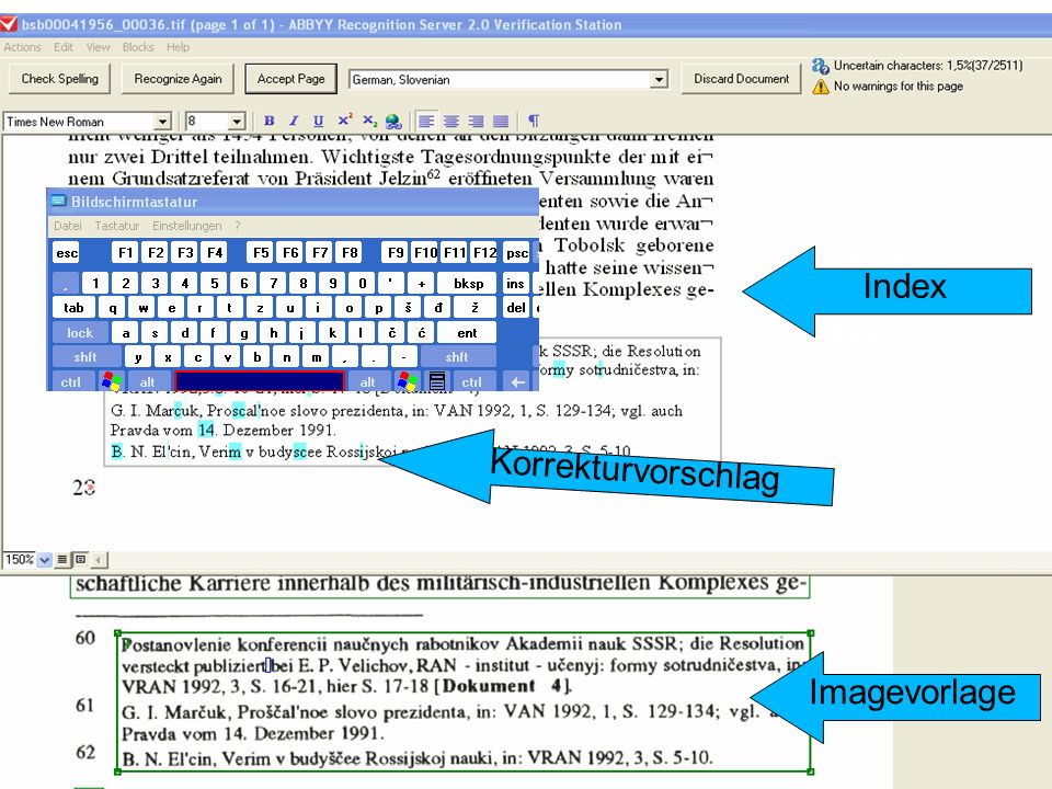 Index Imagevorlage Index Korrekturvorschlag