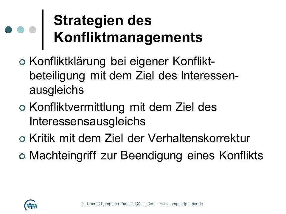 Strategien des Konfliktmanagements Konfliktklärung bei eigener Konflikt- beteiligung mit dem Ziel des Interessen- ausgleichs Konfliktvermittlung mit d