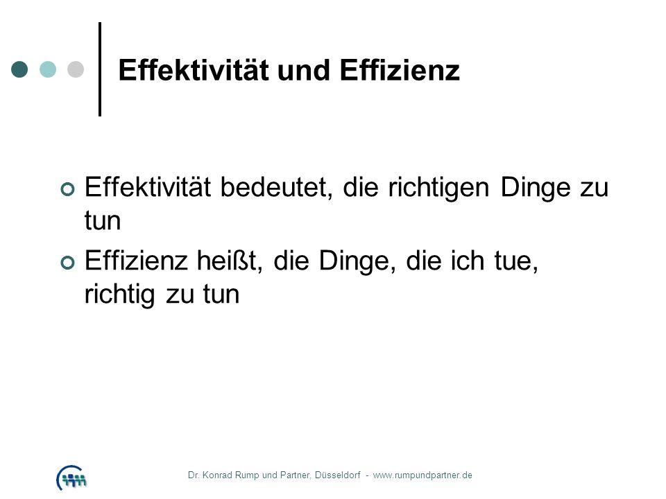 Effektivität und Effizienz Effektivität bedeutet, die richtigen Dinge zu tun Effizienz heißt, die Dinge, die ich tue, richtig zu tun Dr. Konrad Rump u
