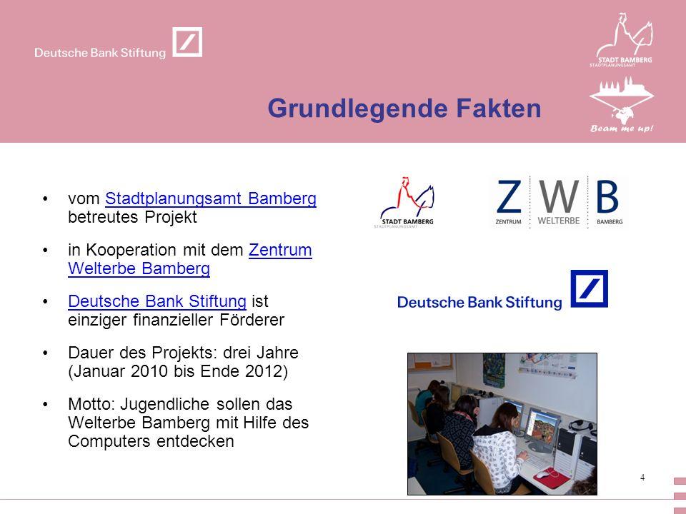 4 Grundlegende Fakten vom Stadtplanungsamt Bamberg betreutes ProjektStadtplanungsamt Bamberg in Kooperation mit dem Zentrum Welterbe BambergZentrum We