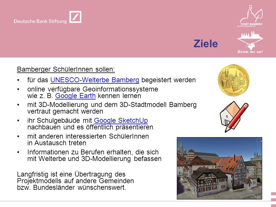 5 Ziele Bamberger SchülerInnen sollen: für das UNESCO-Welterbe Bamberg begeistert werdenUNESCO-Welterbe Bamberg online verfügbare Geoinformationssyste