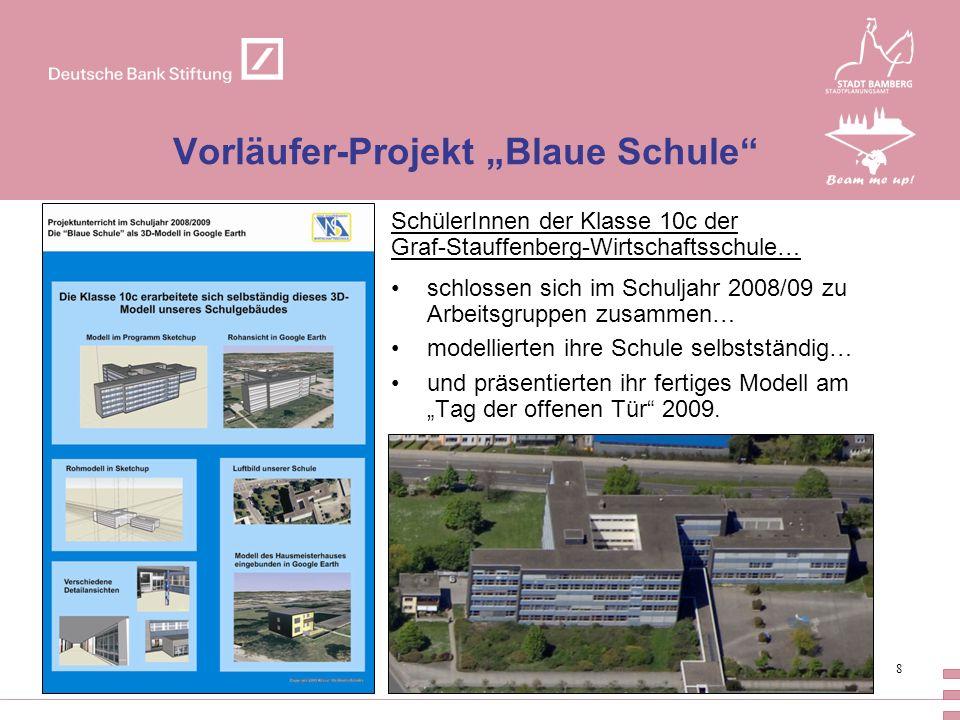 8 Vorläufer-Projekt Blaue Schule SchülerInnen der Klasse 10c der Graf-Stauffenberg-Wirtschaftsschule… schlossen sich im Schuljahr 2008/09 zu Arbeitsgr