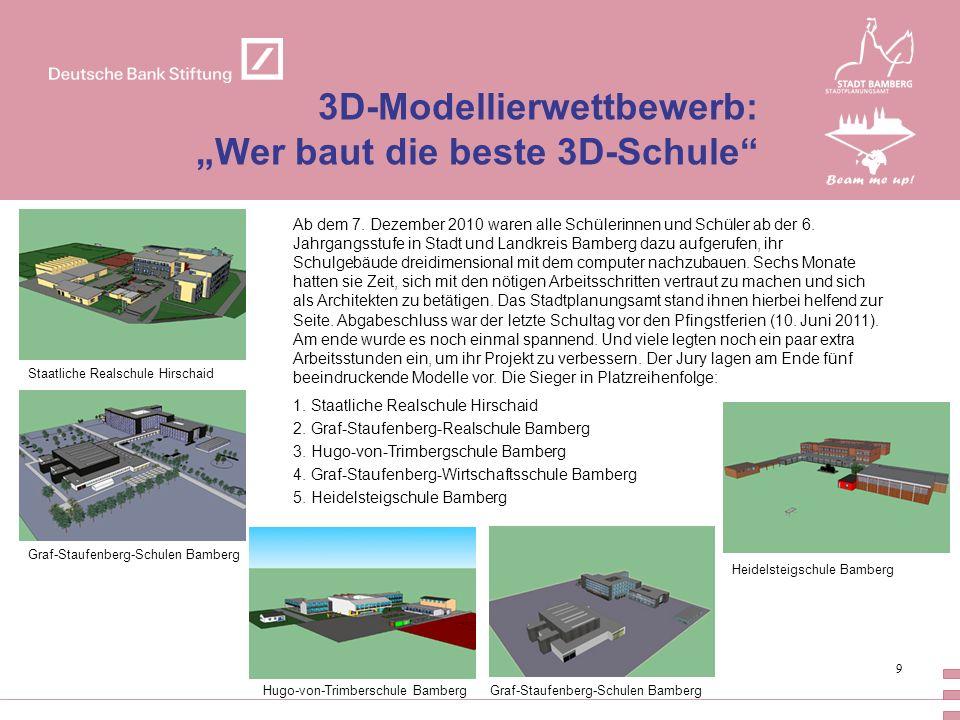 9 3D-Modellierwettbewerb: Wer baut die beste 3D-Schule Staatliche Realschule Hirschaid Graf-Staufenberg-Schulen Bamberg Hugo-von-Trimberschule Bamberg