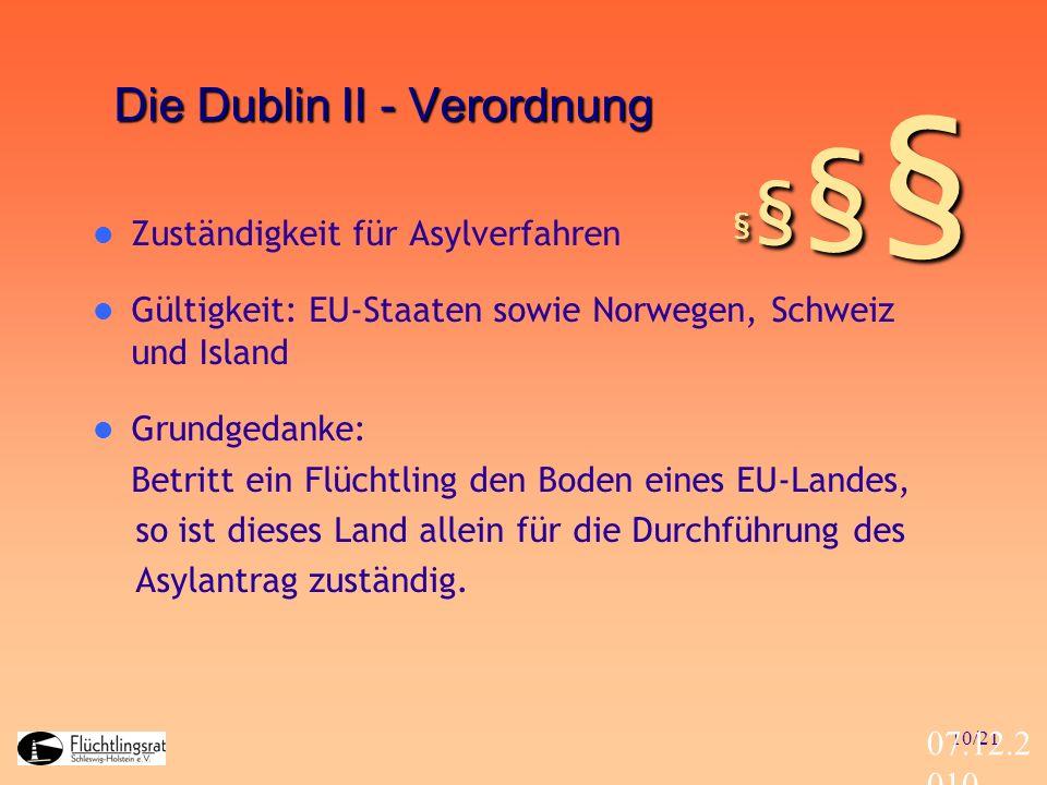 10/21 07.12.2 010 Die Dublin II - Verordnung Zuständigkeit für Asylverfahren Gültigkeit: EU-Staaten sowie Norwegen, Schweiz und Island Grundgedanke: B
