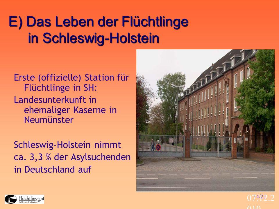 14/21 07.12.2 010 Erste (offizielle) Station für Flüchtlinge in SH: Landesunterkunft in ehemaliger Kaserne in Neumünster Schleswig-Holstein nimmt ca.