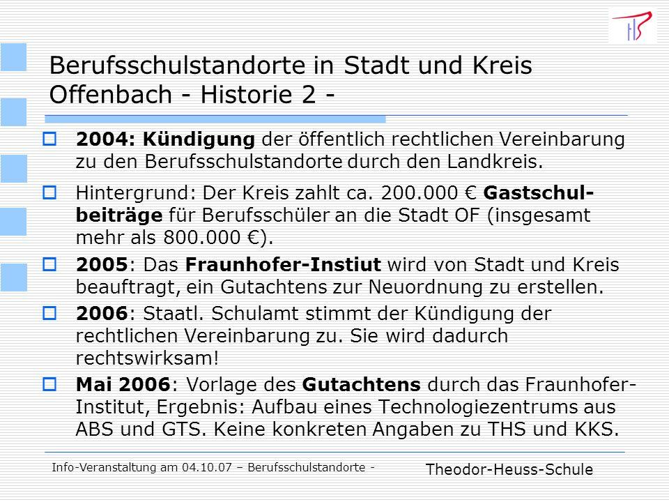 Theodor-Heuss-Schule Info-Veranstaltung am 04.10.07 – Berufsschulstandorte - Berufsschulstandorte in Stadt und Kreis Offenbach - Historie 2 - 2004: Kündigung der öffentlich rechtlichen Vereinbarung zu den Berufsschulstandorte durch den Landkreis.