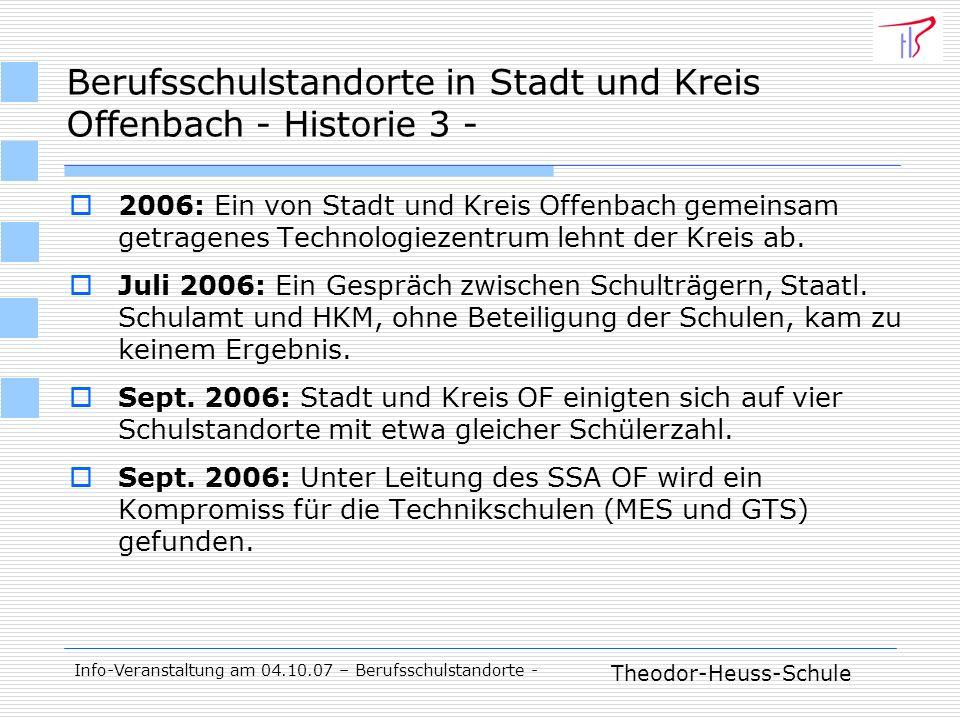 Theodor-Heuss-Schule Info-Veranstaltung am 04.10.07 – Berufsschulstandorte - 2006: Ein von Stadt und Kreis Offenbach gemeinsam getragenes Technologiezentrum lehnt der Kreis ab.