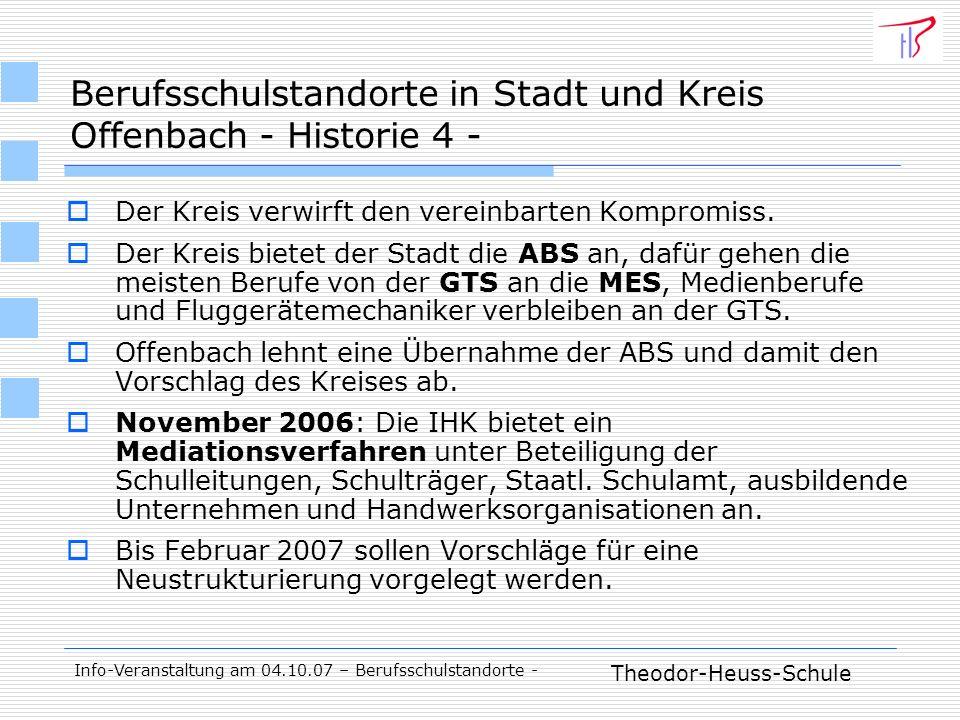 Theodor-Heuss-Schule Info-Veranstaltung am 04.10.07 – Berufsschulstandorte - Der Kreis verwirft den vereinbarten Kompromiss.