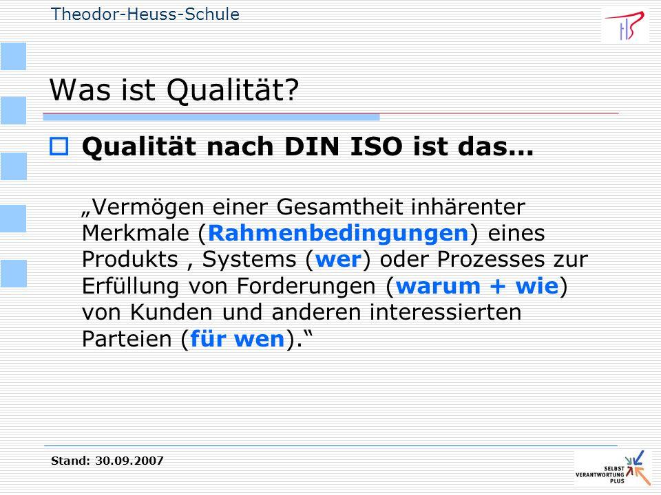 Theodor-Heuss-Schule Stand: 30.09.2007 Was ist Qualität? Qualität nach DIN ISO ist das... Vermögen einer Gesamtheit inhärenter Merkmale (Rahmenbedingu