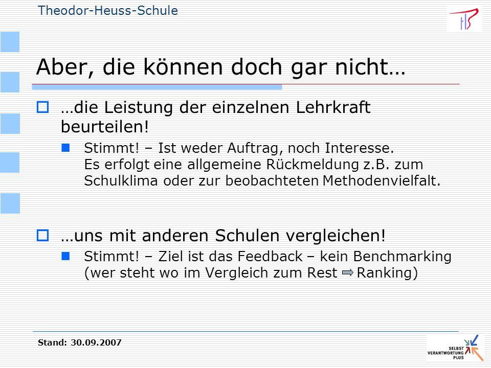 Theodor-Heuss-Schule Stand: 30.09.2007 Aber, die können doch gar nicht… …die Leistung der einzelnen Lehrkraft beurteilen! Stimmt! – Ist weder Auftrag,