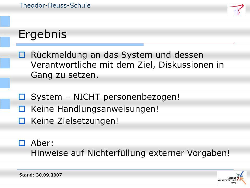 Theodor-Heuss-Schule Stand: 30.09.2007 Ergebnis Rückmeldung an das System und dessen Verantwortliche mit dem Ziel, Diskussionen in Gang zu setzen. Sys