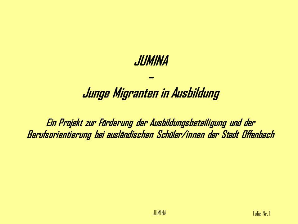 Folie Nr. 1 JUMINA – Junge Migranten in Ausbildung Ein Projekt zur Förderung der Ausbildungsbeteiligung und der Berufsorientierung bei ausländischen S